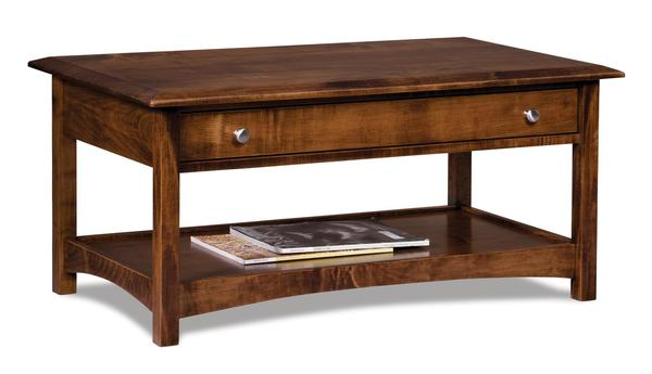 Amish Finland Open Coffee Table with Drawer