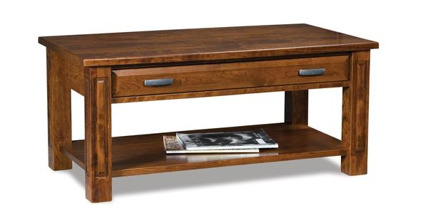 Amish Lexington Open Coffee Table with Drawer