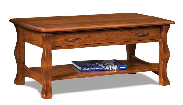 Amish Reno Open Coffee Table with Drawer