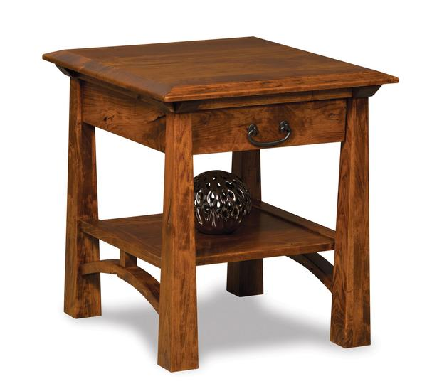 Amish Artesa Open End Table with Drawer and Shelf