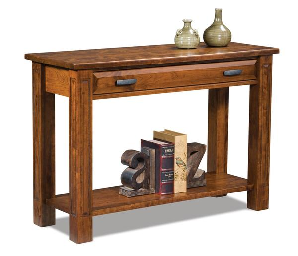Amish Lexington Open Sofa Table with Drawer
