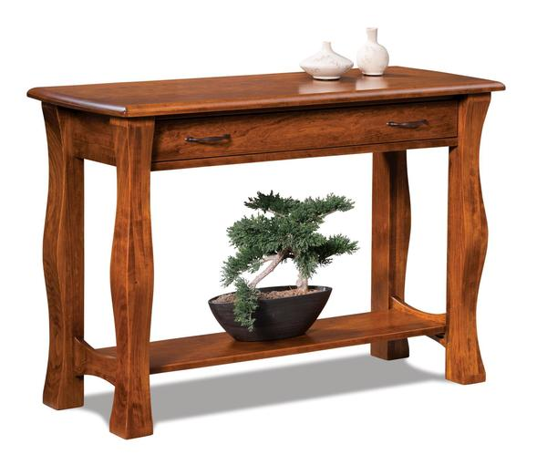 Amish Reno Open Sofa Table with Drawer