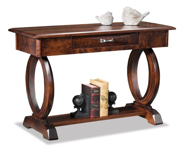 Amish Saratoga Open Sofa Table with Drawer