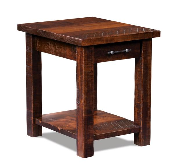 Amish Houston Open End Table with Drawer and Shelf