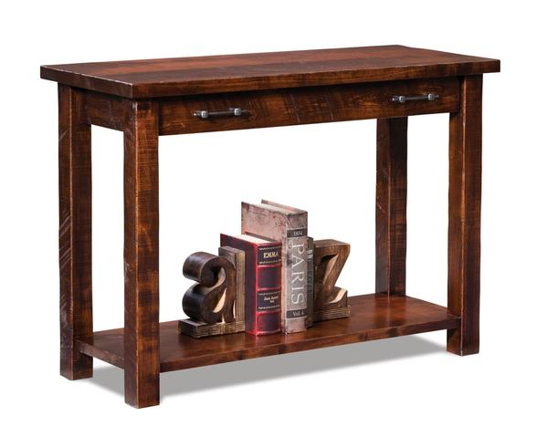 Amish Houston Open Sofa Table with Drawer and Shelf
