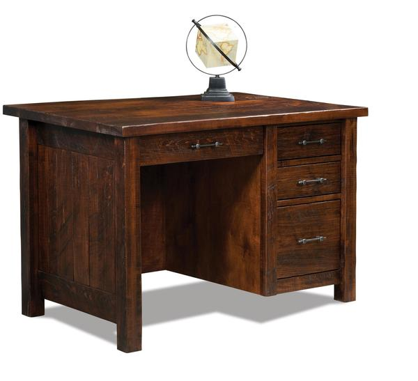 Amish Houston Single Pedestal Four Drawer Desk with Unfinished Backside