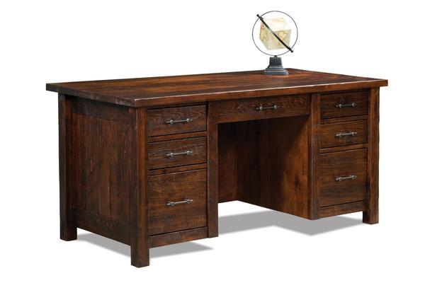 Amish Houston Double Pedestal Seven Drawer Desk with Finished Backside