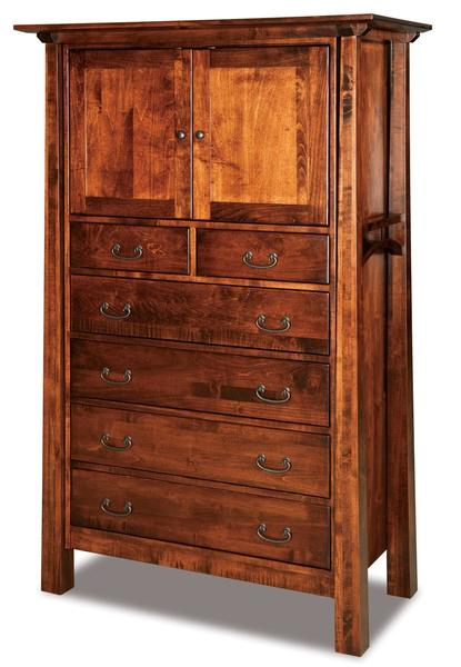 Amish Artesa Chest Armoire with Two Doors and Six Drawers