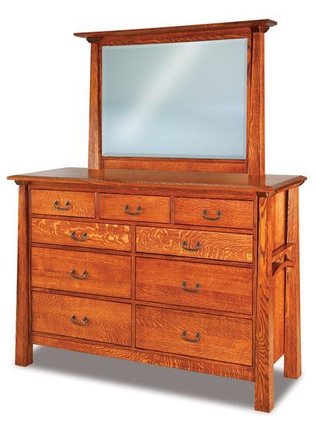 Amish Artesa Nine Drawer Dresser with Optional Mirror