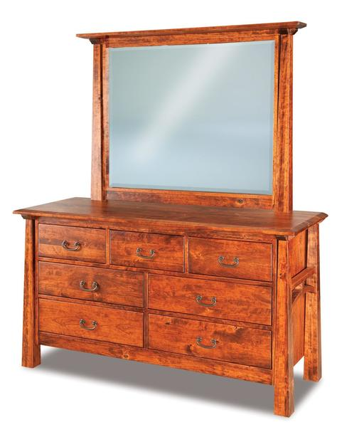 Amish Artesa Seven Drawer Dresser with Optional Mirror