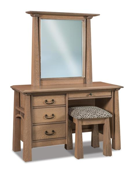 Amish Artesa Four Drawer Vanity Dresser with Optional Mirror and Optional Bench