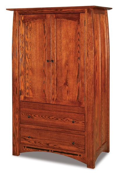 Amish Boulder Creek Armoire with Two Drawers and Two Doors
