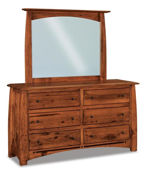 Amish Boulder Creek Condo Size Six Drawer Dresser with Optional Mirror