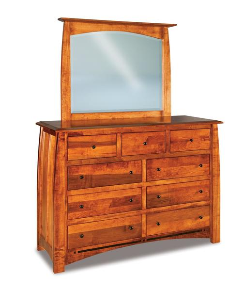 Amish Boulder Creek Queen Size Nine Drawer Dresser with Optional Mirror
