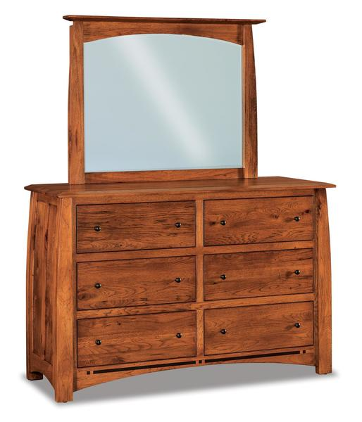 Amish Boulder Creek Queen Size Six Drawer Dresser with Optional Mirror