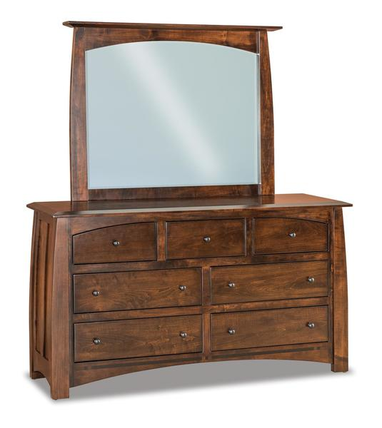 Amish Condo Size Seven Drawer Dresser with Optional Mirror