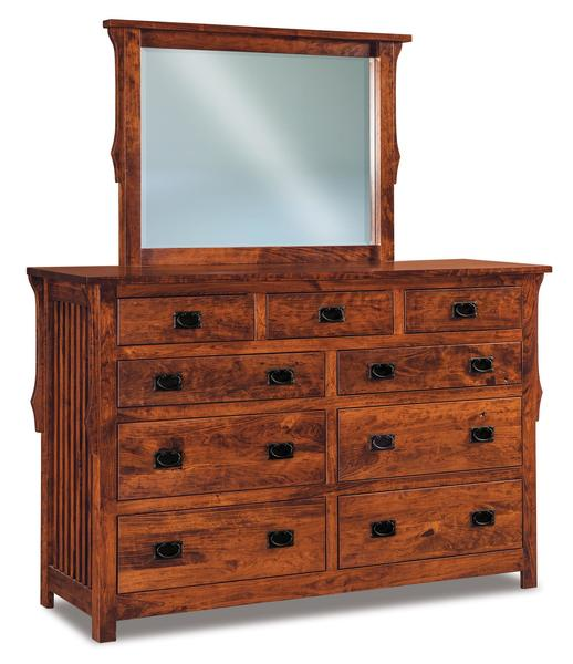 "Amish Stick Mission 67"" Nine Drawer Dresser with Optional Mirror"