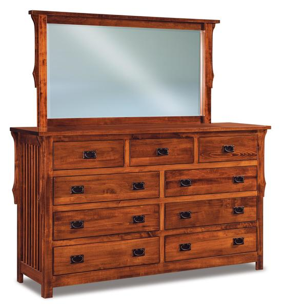 "Amish Stick Mission 73"" Nine Drawer Dresser with Optional Mirror"