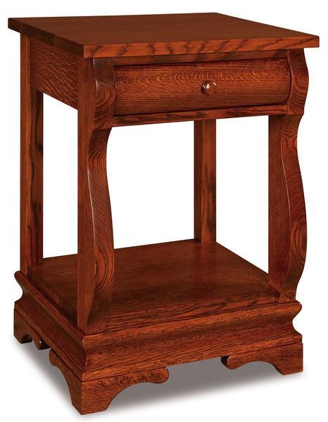 Amish Chippewa Sleigh One Drawer Open Nightstand