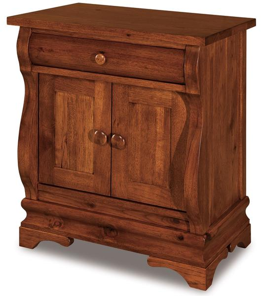 Amish Chippewa Sleigh One Drawer and Two Door Nightstand