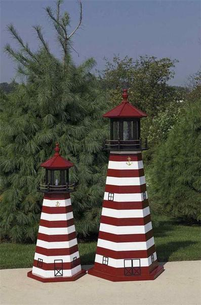 Amish-Made West Quoddy Wooden Garden Lighthouse