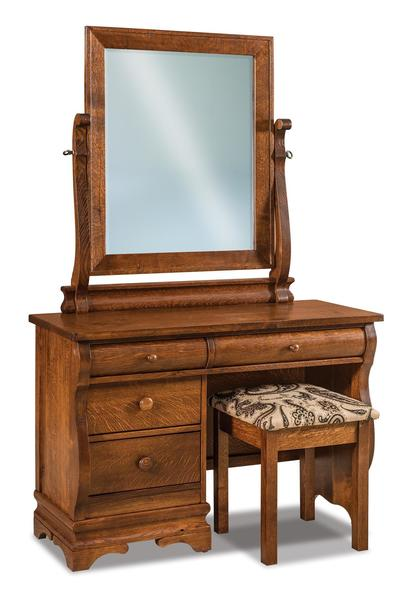 Amish Chippewa Sleigh Four Drawer Vanity Dresser with Optional Mirror and Optional Bench