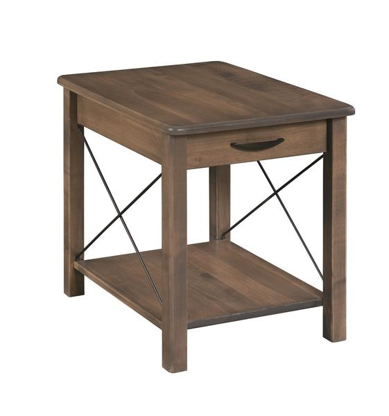 Amish Crossway Leg End Table with Drawer