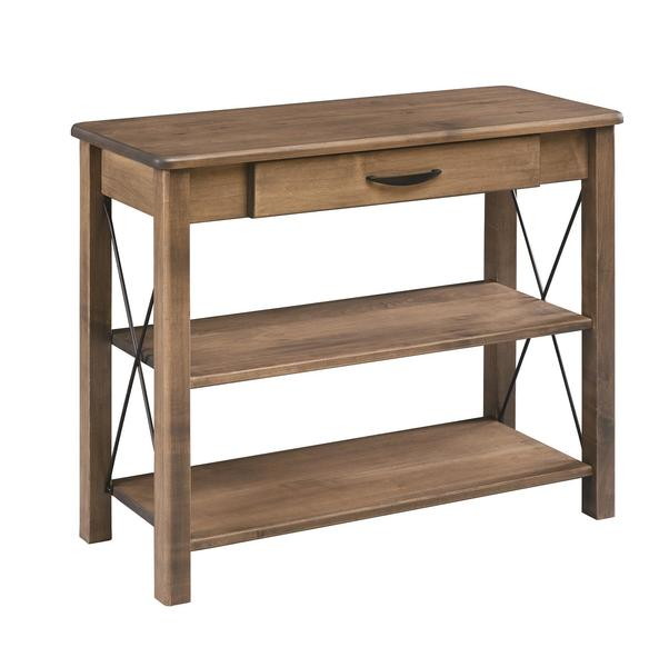 Amish Crossway Console Table with 2 Shelves and Drawer