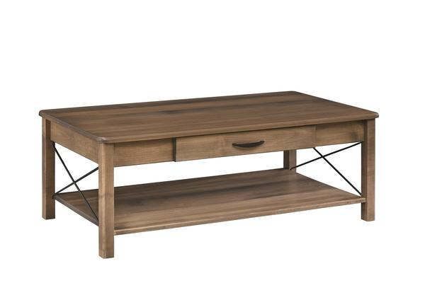 Amish Crossway Leg Coffee Table with Drawer