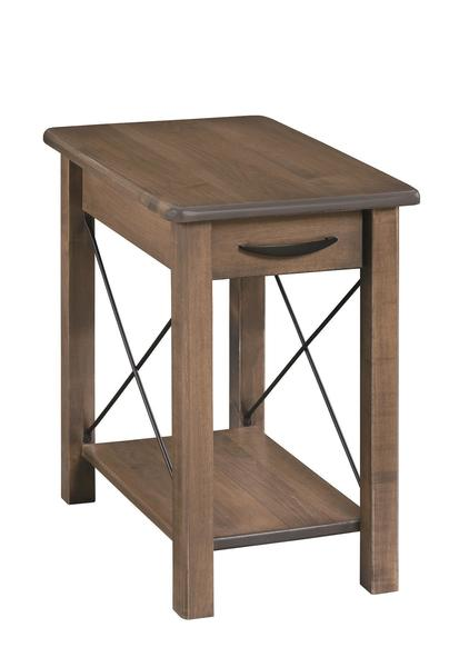 Amish Crossway Chairside Table with Drawer