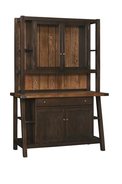 Amish Farmstead Large 2-Door China Hutch with 3-Stage Touch Lighting