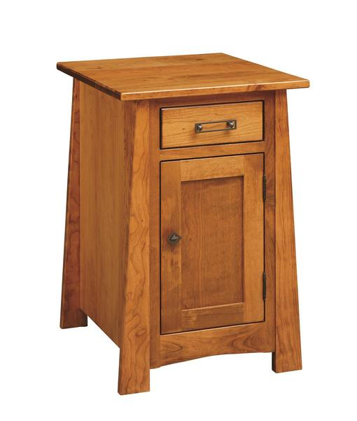 Amish Craftsmen Chairside Table with Drawer & Door