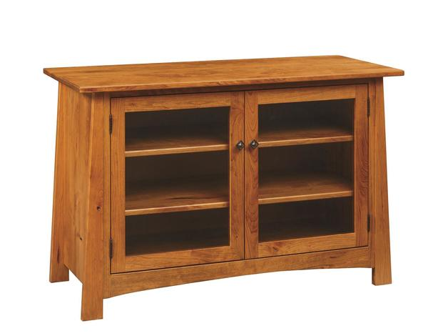 Amish Craftsmen Entertainment Center with Glass Doors