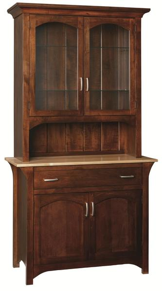 Amish Monarch China Hutch with 3-Stage Touch Lighting