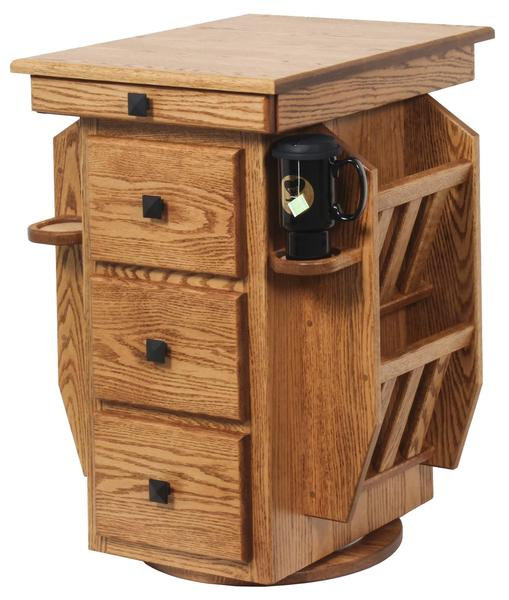 Amish Hardwood Magazine Stand with Storage and Cupholders