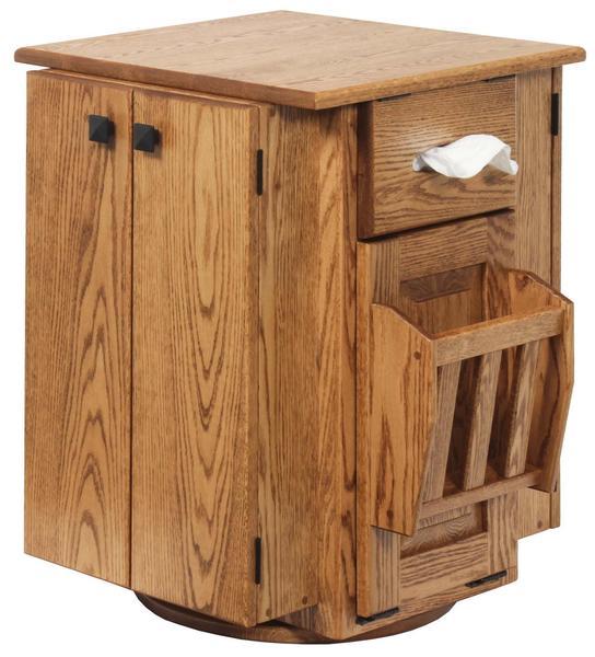 Amish Hardwood Magazine Stand with Storage Drawers and Doors