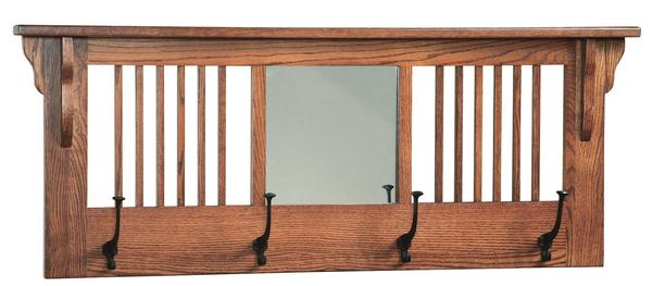 Amish Mission Wall Hanger with Hooks & Beveled Mirror