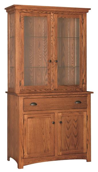 Amish China Hutch with Touch Lights