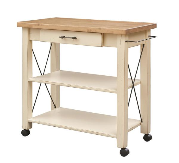 Amish Transitional Kitchen Cart with Casters