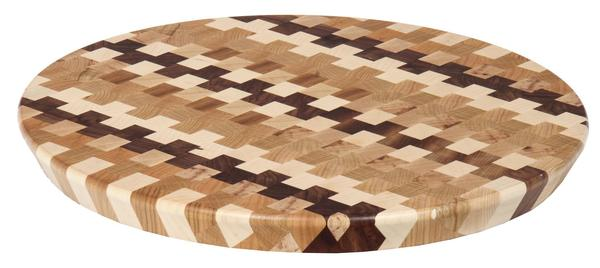 Amish End Grain Checked Large Lazy Susan