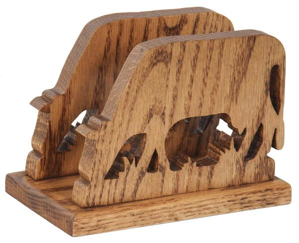 Amish Oak Wood Cow Shape Napkin or Letter Holder