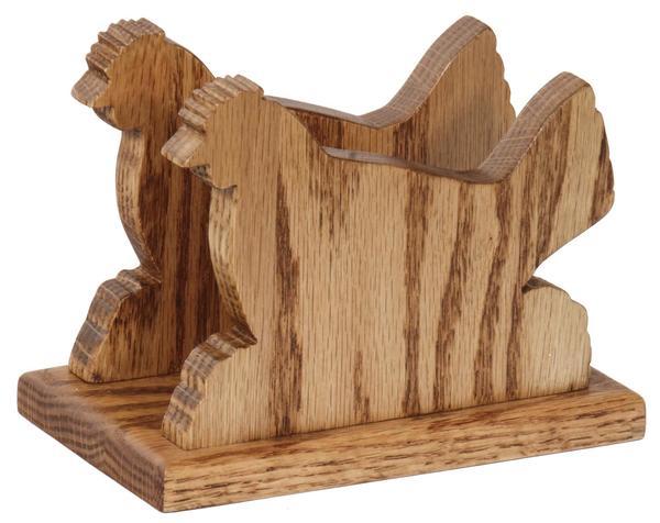 Amish Oak Wood Hen Shape Napkin or Letter Holder