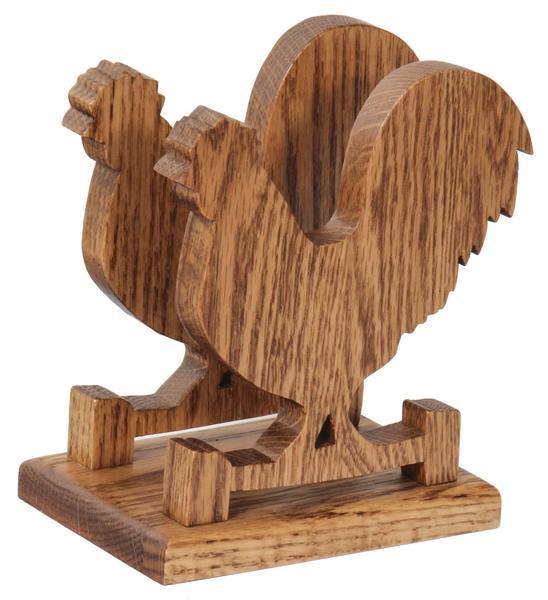 Amish Wooden Napkin Holder Rooster Shaped