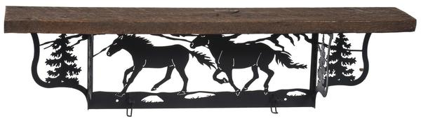 Amish Rustic Shelf with Horses