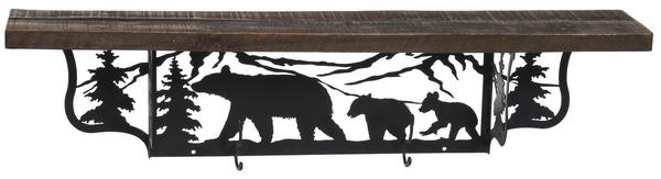 Amish Rustic Shelf with Bears