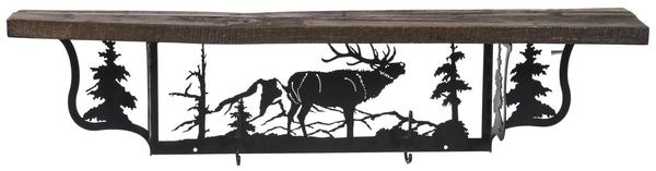 Amish Rustic Shelf and Coat Hanger with Elk Design