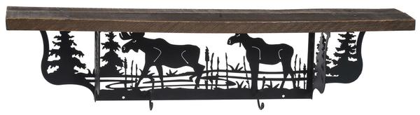 Amish Rustic Shelf and Coat Hanger with Moose Design
