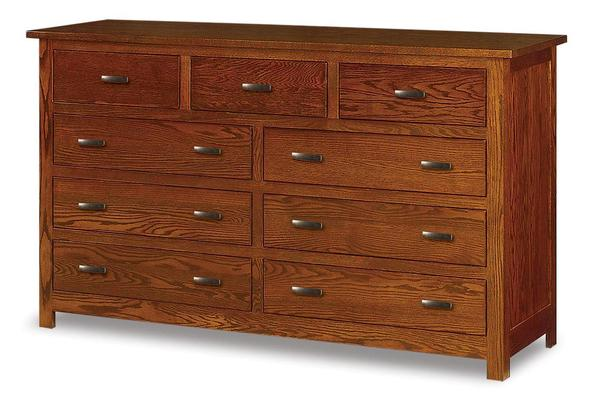 "Amish Flush Mission 72"" Nine Drawer Dresser"