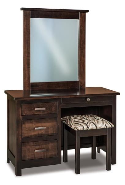 Amish Flush Mission Four Drawer Vanity Dresser From