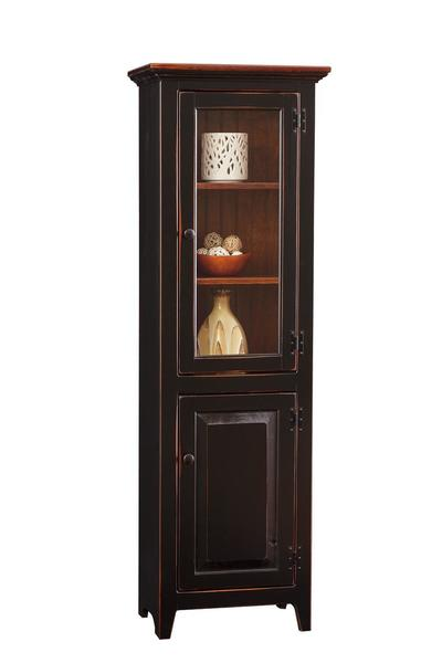 Amish Pine Large Chimney Cupboard with Glass